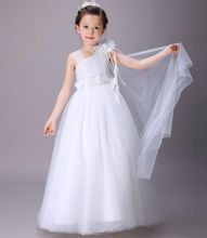 Romantic Aestheticism One-shoulder Pure White Princess Dress Formal Prom Wedding Dress Costume Flower Girl Ball Gown Bubble Skirt