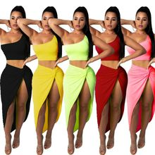 2019 Neon Color Two Piece Set Dress For Women One Shoulder Tops Side Ruched High Split Dress Female Bandange Vestidos