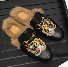 Ladies Tiger Embroidered Muller Shoes Real Leather Rabbit Horse Button Slippers Winter Indoor Semi-brace Shoes Flat heel Slippers for unisex