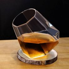 New glass diamond whiskey glass Bar cup Wine glass European wine glass Creative fashion classical oblique cup wine D42