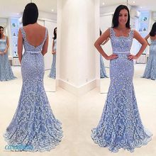 Light Sky Blue Cheap Mermaid Prom Dresses Backless Lace Applique Beads Trumpet 2019 Prom Gowns Square Neck Sexy Formal Dress