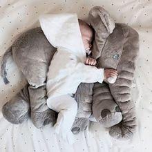 30CM 60CM Elephant Pillow Plush Toy baby stuffed animals grey doll children sleep birthday gift INS Lumbar Long Nose Elephant Doll Soft Xmas