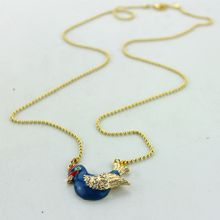 Free shipping the new fashion women blue bird semi-precious stones alloy pendant necklace Christmas party accessories