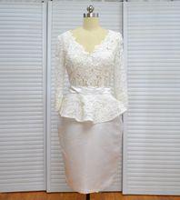 Real Photo Sheath Long Sleeves Lace Satin V-Neck Knee Length Wedding Dress Bridal Gown 2018