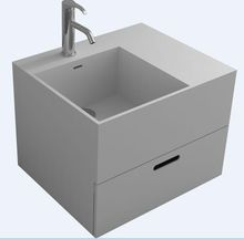 Rectangular Corain Wall Hung Vessel Sink Matt Solid Surface Stone Wash Basin Pre-drilled Hole RS38425