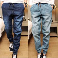 Mens Denim Jeans Men Drawstring Slim Fit Denim Joggers Mens Joggers Jeans Stretch Elastic Jean Pencil Pants Casual