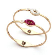 Jewelry wholesale diamond bracelet full lips single spring opening drill Bracelet 18K Rose Gold Diamond red lips Bracelet