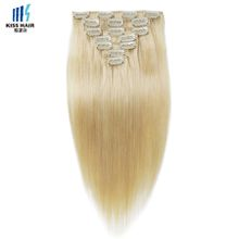 Full Head Clip in Human Hair Extensions 22 24 inches Color 613 Blonde Extensions Silky Straight Indian Hair
