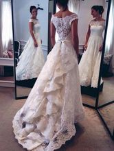 2016 Spring New Arrival Boat Neck Princess Wedding Dresses Illusion Back Ruffles Lace Chapel Train Wedding Dress Bridal Gowns 2017