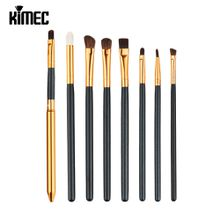 Professional 8pcs High Quality Makeup Brush Set For Eyes Shadow With Black Handle Gold Tube Cosmetic Tool
