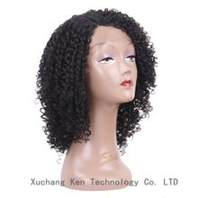 14inch Synthetic Lace Front Wig for Black Women Afro kinky Curly V-Cut Hairstyles for Halloween party