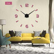 Wholesale-2017 New Wall Clock Clocks Clock Stickers Diy 3d Acrylic Mirror Home Decoration Quartz Balcony / Courtyard Europe Needles Hot