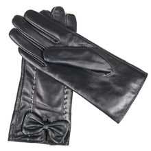 Black Genuine Leather Gloves Female Full Finger Winter Gloves Warm Fashion Gloves for Cycling Outdoor Sports