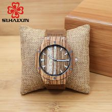SIHAIXIN Male Men's Watch Top Brand Luxury Luminous Pointer Wooden Calendar Wooden Watch Male Present Gift Watch For Him