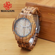 Mens Wooden Watch SIHAIXIN Red Calendar Special Men Watch With Exclusive Design All Wooden Watch