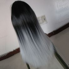 cosplay Ombre Wig Long Straight Cheap Women Synthetic Wig Fashion Natural Hair Women Black and White No synthetic lace front wig 300g