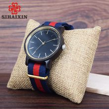 SIHAIXIN Minimalist Wood Watches For Men Woman With Top Brand Rainbow Nylon Cloth Clock As Simple Design Unisex Watch Relogio