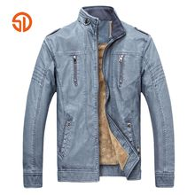 Retro Motorcycle Leather Jacket Mens Fleece Winter Plus Size XXXL Fashion PU Leather Thick Coat Male M-3XL Blue Brown