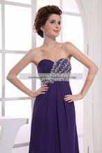 Grape Chiffon A Line Strapless Zipper Sweep Train/Brush Train Sleeveless Evening Dresses Gowns Wear Free Shipping