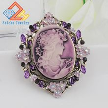 Charm Brooches Classic Vintage Style Retro Cameo Beauty Queen Head Brooch Free shipping