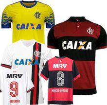 Thai quality Maglie calcio Flamengo RJ soccer jerseys 2017 2018 Camiseta de Futbol GUERRERO Brasil Maillot yellow Brazilian football shirts