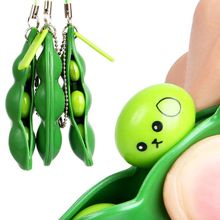 Edamame Soybean Squeeze Toys Keychain Fidget Stress Relief Pendants Anti Stressball Squeezing Squeeze-a-Bean Anti-anxiety Decompression EDC