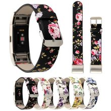 Fashion Flower Printed Replacement Genuine Leather Wrist Strap Band for Fitbit Charge 2 Smart Wristband with Adpater