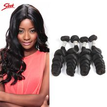 Sleek Hair Brazilian Peruvian Indian Malaysian Hair Wefts 100% Remy Hair Loose Wave Bundles 8-30 Inch Available 5 Bundles lot Bleachable