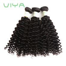 VIYA Brazilian Spanish Curly Virgin Hair 3 Bundles Unprocessed Brazilian Curly Extensions Human Hair Weave Natural Black Color WY831D