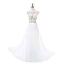 Scoop Vinoprom Beads Bodice Open Back A Line Long Evening Dress Party Elegant Vestido De Festa Fast Shipping Prom Gowns