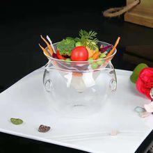 Creative molecular cuisine gourmet transparent glass bowl Dry ice vegetable fruit salad bowl Artistic glass tableware