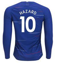 HAZARD Long Sleeve Home blue Soccer Jersey FABREGAS WILLIAN Full Sleeve soccer shirt