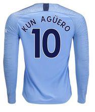 Man City Long Sleeve Soccer Jerseys 18 19 MAHREZ G.JESUS KUN AGUERO Long Jersey