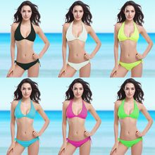 2019 New Foreign Trade European and American sexy fluorescent bikini swimsuit with chest mat swimsuit V001