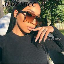 ALOZ MICC Brand Designer Women Square Sunglasses Men's Unique Oversize Shield UV400 Gradient Vintage Eyeglasses Frames For Women A014