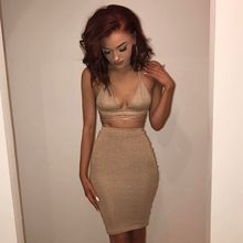Sexy Sparkly Bandage Bodycon Dresses 2017 Halter Deep V Neck Lace Up Crop Top Two Piece Set Summer Party Dresses Vestidos