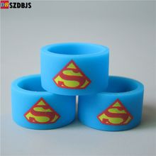 Vape Band Silicone Rings with Superman Batman Flash Captain America Logo Colorful Rubber Rings fit RDA RTA Atomizer Mods DHL Free
