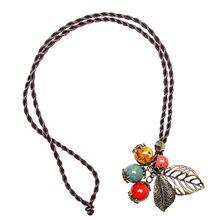 Wholesale handmade flower necklace leaf shape women pendant necklace ceramic beads necklace