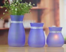 Set of 3 colorful crystal glass vase with decoration