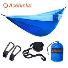 Acehmks Single Camping Hammock, Ultralight Portable Folding Parachute Nylon Hammock For Outdoor Living With 2 Tree Straps Carabiners