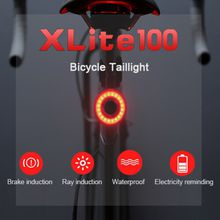 Xlite100 Smart Bike Bicycle Taillight USB Rechargeable Led Cycling Tail Light Auto Start/Stop Brake Sensing IPx6 Waterproof