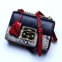 Women Fashion Handbags Top-Handle Shoulder Bags Leather Tote Bags Crossbody Purse snake-grain bag Messenger female bag red/green/blue