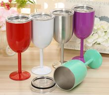 Stainless Steel Wine Glass 9 colors 10oz Wine Glasses Vacuum Double layer thermo cup Drinkware Tumbler Red Wine Mugs Free Shipping