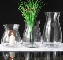Set of 3 crystal glass vase with decoration