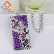 The new design of purple rectangular geometry antique silver plated necklace and pendant necklace