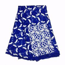 Best quality African multi color cord lace guipure lace water soluble lace use for wedding party royal blue GYMW0001