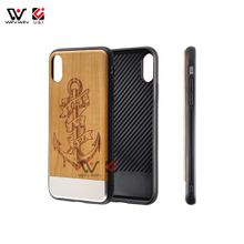 Cherry wood sublimation aluminum cell phone cases for iPhone x 8plus 7plus 6s mobile phones cover PC TPU material U&I Dongguan supplier