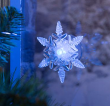 LED Window suction light Battery operated led snowflake decoration ornament Christmas lighted Holiday festive lighting