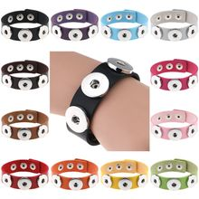 Fashion Button Charm Leather Bracelets For Girls&Boy