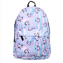 2018 can be customized new fashion trend unicorn print wearable fabric middle school students cartoon casual backpack